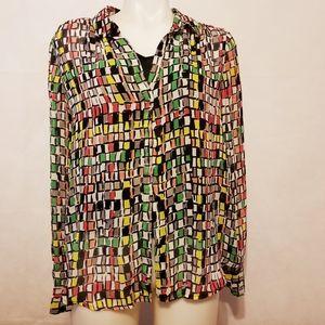 Liz Claiborne,multi color,blouse,size large